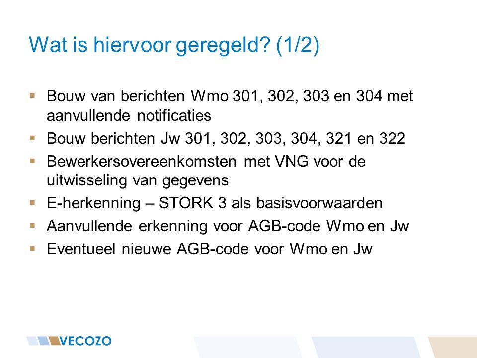 Wat is hiervoor geregeld? (1/2)  Bouw van berichten Wmo 301, 302, 303 en 304 met aanvullende notificaties  Bouw berichten Jw 301, 302, 303, 304, 321