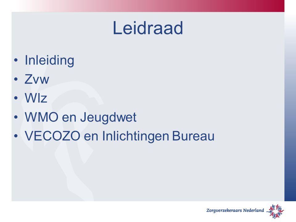Leidraad Inleiding Zvw Wlz WMO en Jeugdwet VECOZO en Inlichtingen Bureau