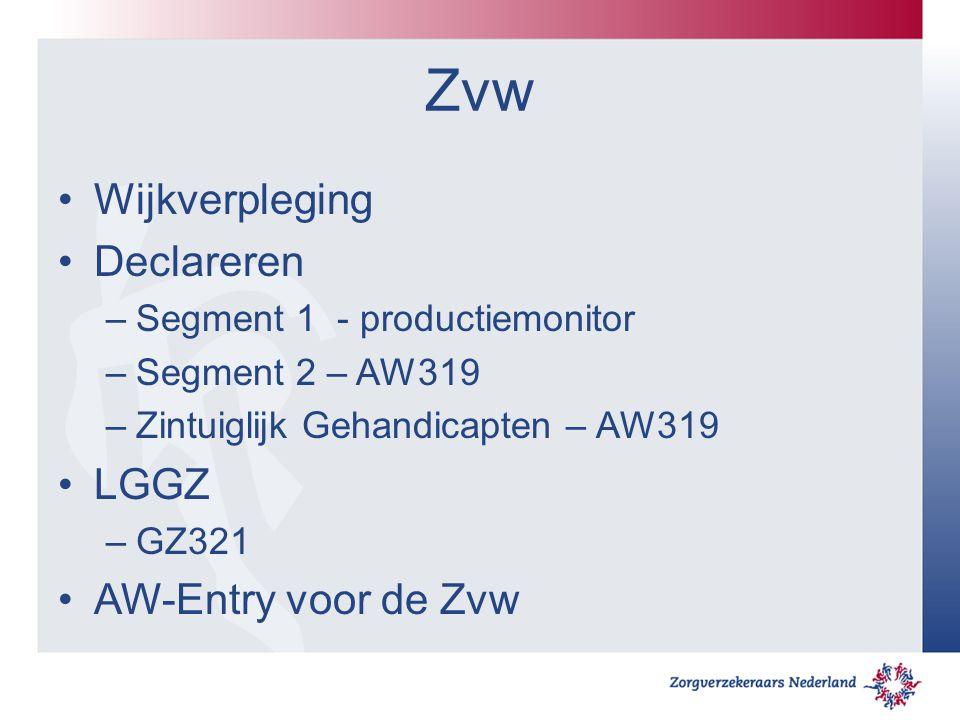 Zvw Wijkverpleging Declareren –Segment 1 - productiemonitor –Segment 2 – AW319 –Zintuiglijk Gehandicapten – AW319 LGGZ –GZ321 AW-Entry voor de Zvw