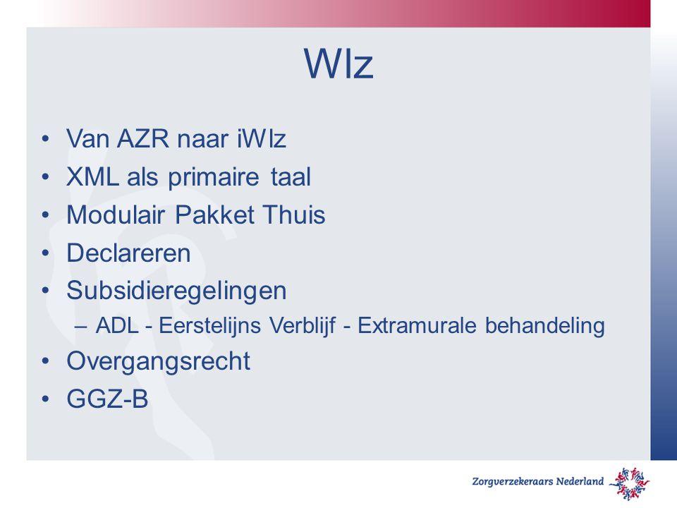 Wlz Van AZR naar iWlz XML als primaire taal Modulair Pakket Thuis Declareren Subsidieregelingen –ADL - Eerstelijns Verblijf - Extramurale behandeling Overgangsrecht GGZ-B