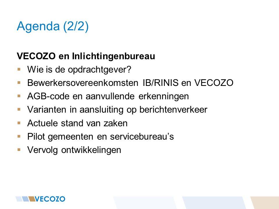 Agenda (2/2) VECOZO en Inlichtingenbureau  Wie is de opdrachtgever?  Bewerkersovereenkomsten IB/RINIS en VECOZO  AGB-code en aanvullende erkenninge