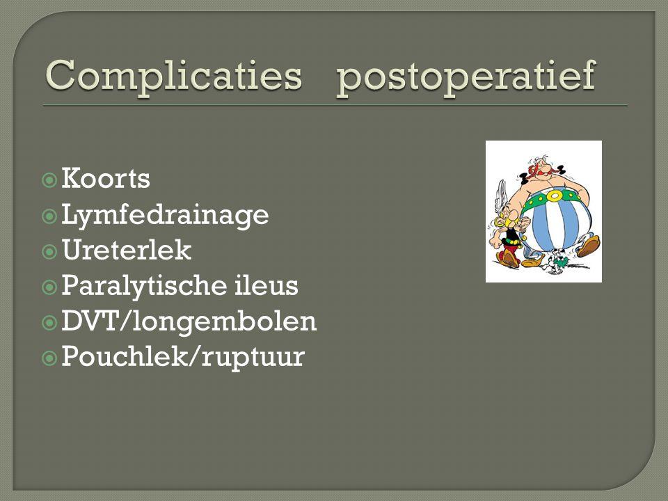  Koorts  Lymfedrainage  Ureterlek  Paralytische ileus  DVT/longembolen  Pouchlek/ruptuur