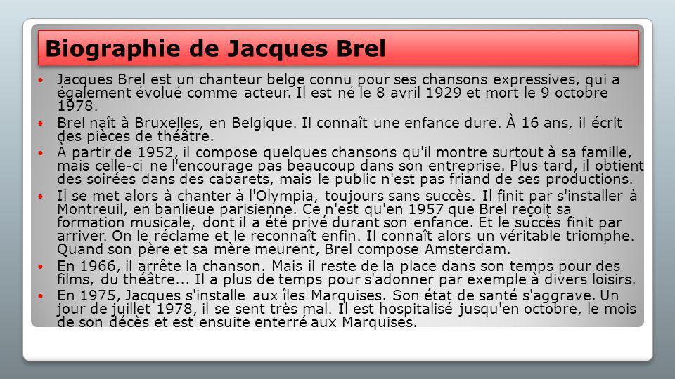 Jacques Brel - Quiz Quiz Doe nu de quiz en kijk wat je weet over Jacques Brel. Quiz 1 Quiz 2
