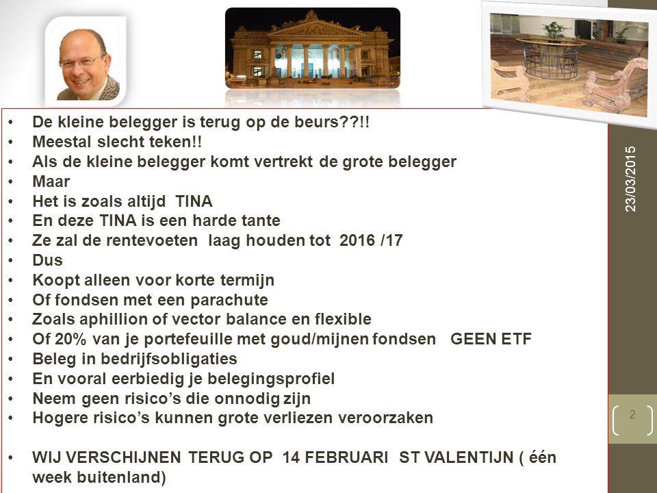 23/03/2015 2 De kleine belegger is terug op de beurs??!.