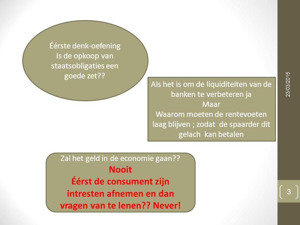 23/03/2015 3 Éérste denk-oefening Is de opkoop van staatsobligaties een goede zet?.