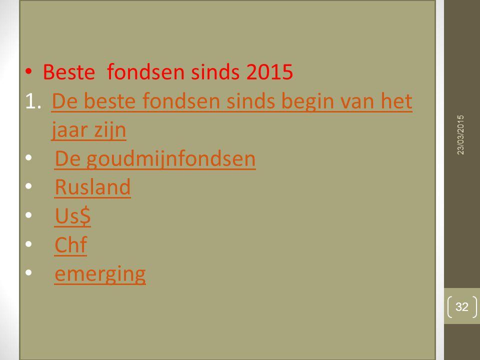 23/03/2015 32 Beste fondsen sinds 2015 1.De beste fondsen sinds begin van het jaar zijnDe beste fondsen sinds begin van het jaar zijn De goudmijnfonds