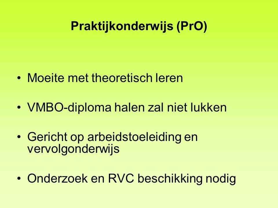 Praktijkonderwijs (PrO) Moeite met theoretisch leren VMBO-diploma halen zal niet lukken Gericht op arbeidstoeleiding en vervolgonderwijs Onderzoek en