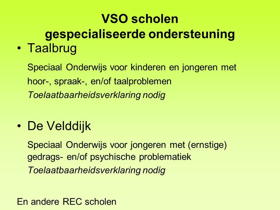 VSO scholen gespecialiseerde ondersteuning Taalbrug Speciaal Onderwijs voor kinderen en jongeren met hoor-, spraak-, en/of taalproblemen Toelaatbaarhe