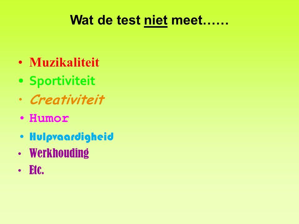 Wat de test niet meet…… Muzikaliteit Sportiviteit Creativiteit Humor Hulpvaardigheid Werkhouding Etc.