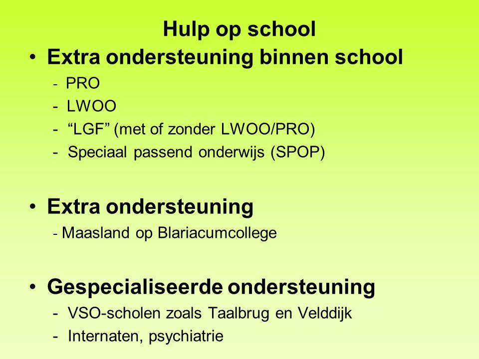 """Hulp op school Extra ondersteuning binnen school - PRO - LWOO -""""LGF"""" (met of zonder LWOO/PRO) -Speciaal passend onderwijs (SPOP) Extra ondersteuning -"""