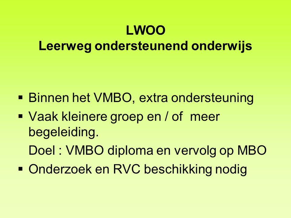 LWOO Leerweg ondersteunend onderwijs  Binnen het VMBO, extra ondersteuning  Vaak kleinere groep en / of meer begeleiding. Doel : VMBO diploma en ver