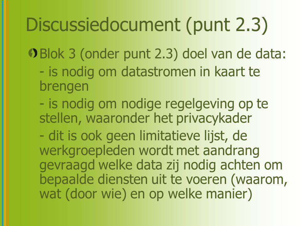Discussiedocument (punt 2.3) Blok 3 (onder punt 2.3) doel van de data: - is nodig om datastromen in kaart te brengen - is nodig om nodige regelgeving