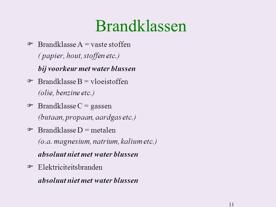 11 Brandklassen FBrandklasse A = vaste stoffen ( papier, hout, stoffen etc.) bij voorkeur met water blussen FBrandklasse B = vloeistoffen (olie, benzine etc.) FBrandklasse C = gassen (butaan, propaan, aardgas etc.) FBrandklasse D = metalen (o.a.