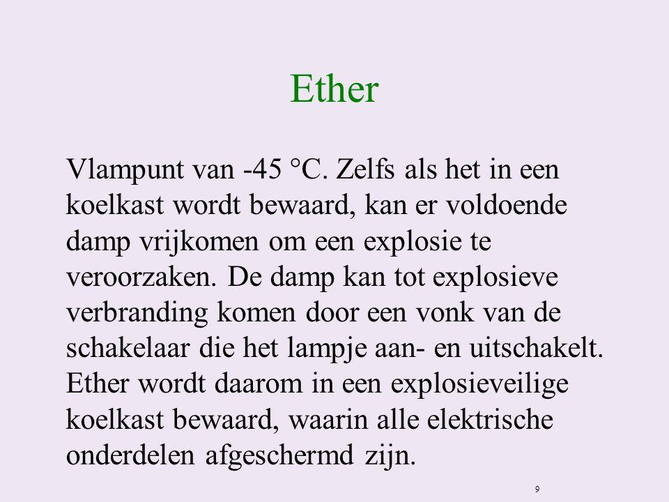 Ether Vlampunt van -45 °C. Zelfs als het in een koelkast wordt bewaard, kan er voldoende damp vrijkomen om een explosie te veroorzaken. De damp kan to