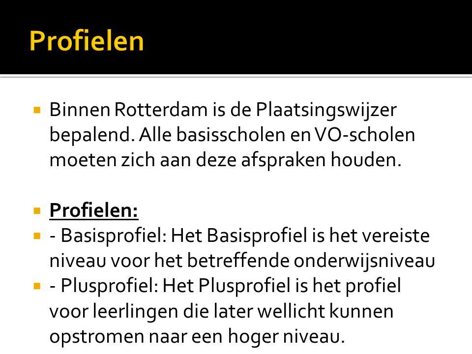  Binnen Rotterdam is de Plaatsingswijzer bepalend. Alle basisscholen en VO-scholen moeten zich aan deze afspraken houden.  Profielen:  - Basisprofi