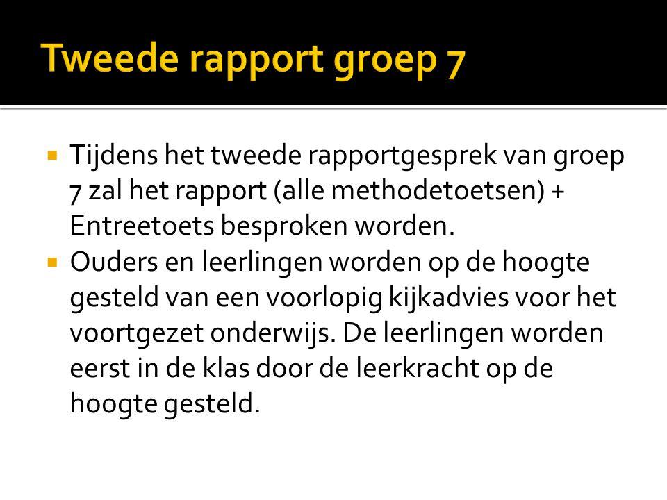  Tijdens het tweede rapportgesprek van groep 7 zal het rapport (alle methodetoetsen) + Entreetoets besproken worden.  Ouders en leerlingen worden op