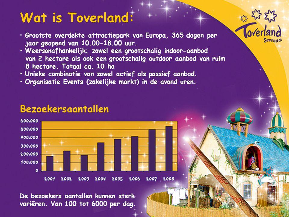 Wat is Toverland: Bezoekersaantallen Grootste overdekte attractiepark van Europa, 365 dagen per jaar geopend van 10.00-18.00 uur. Weersonafhankelijk;