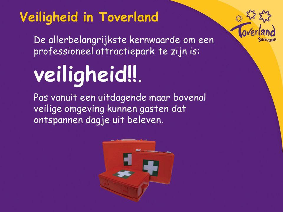 Veiligheid in Toverland De allerbelangrijkste kernwaarde om een professioneel attractiepark te zijn is: veiligheid!!. Pas vanuit een uitdagende maar b