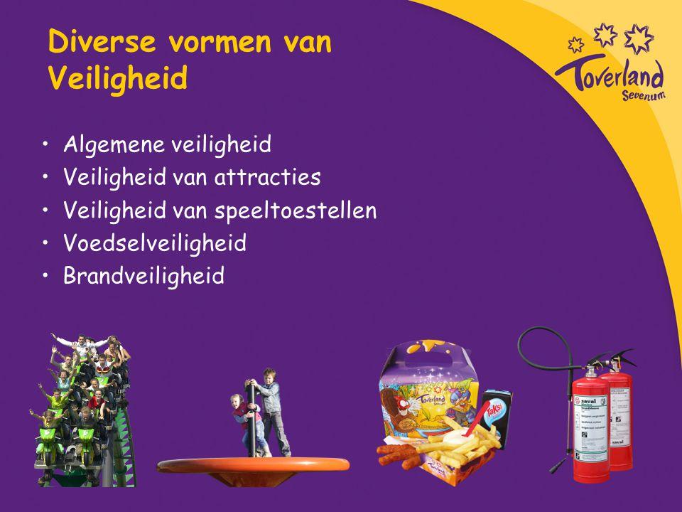 Diverse vormen van Veiligheid Algemene veiligheid Veiligheid van attracties Veiligheid van speeltoestellen Voedselveiligheid Brandveiligheid