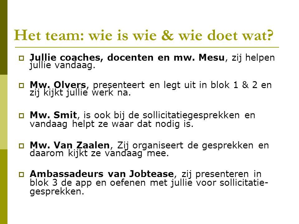 Het team: wie is wie & wie doet wat. Jullie coaches, docenten en mw.