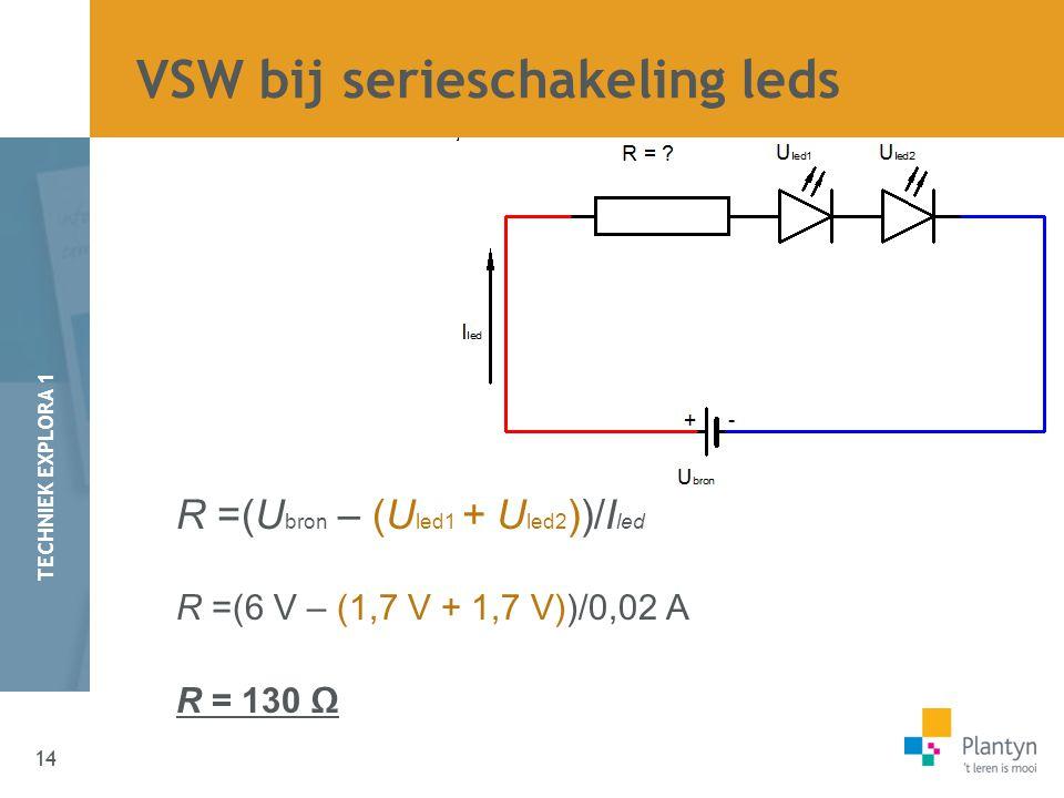 14 TECHNIEK EXPLORA 1 R =(U bron – (U led1 + U led2 ))/I led R =(6 V – (1,7 V + 1,7 V))/0,02 A R = 130 Ω VSW bij serieschakeling leds