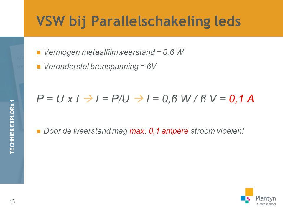 15 TECHNIEK EXPLORA 1 Vermogen metaalfilmweerstand = 0,6 W Veronderstel bronspanning = 6V P = U x I  I = P/U  I = 0,6 W / 6 V = 0,1 A Door de weerstand mag max.