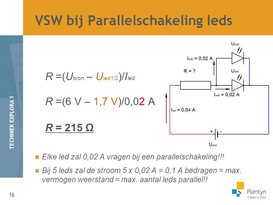 16 TECHNIEK EXPLORA 1 R =(U bron – U led1/2 )/I led R =(6 V – 1,7 V)/0,02 A R = 215 Ω Elke led zal 0,02 A vragen bij een parallelschakeling!!.