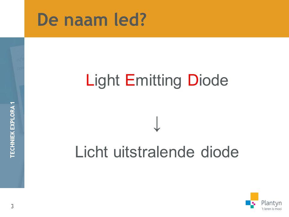3 TECHNIEK EXPLORA 1 De naam led? Light Emitting Diode ↓ Licht uitstralende diode