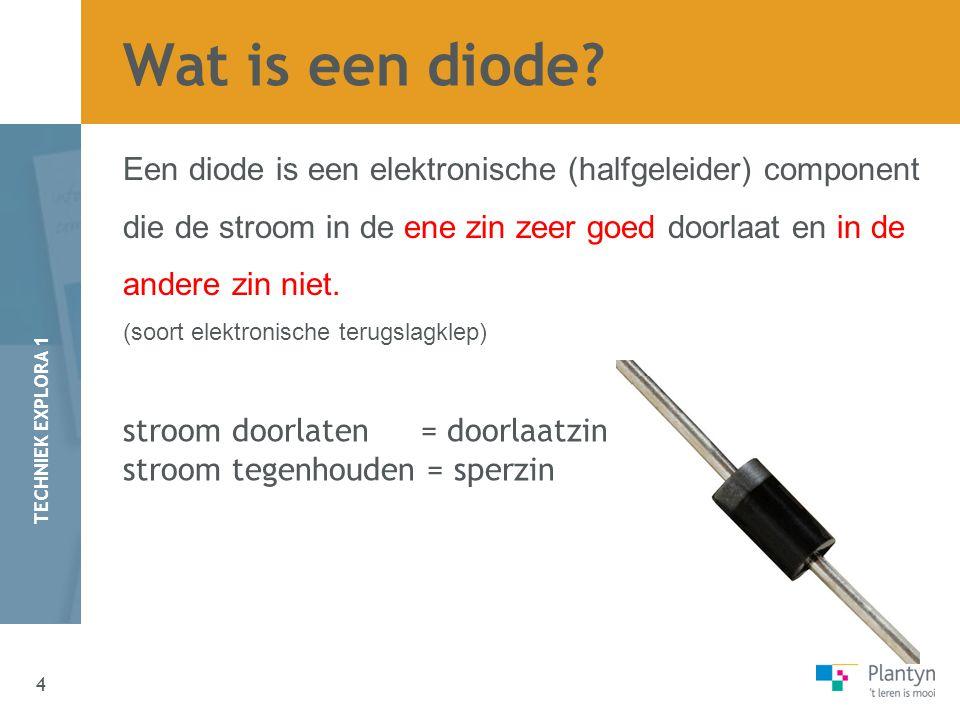 4 TECHNIEK EXPLORA 1 Een diode is een elektronische (halfgeleider) component die de stroom in de ene zin zeer goed doorlaat en in de andere zin niet.