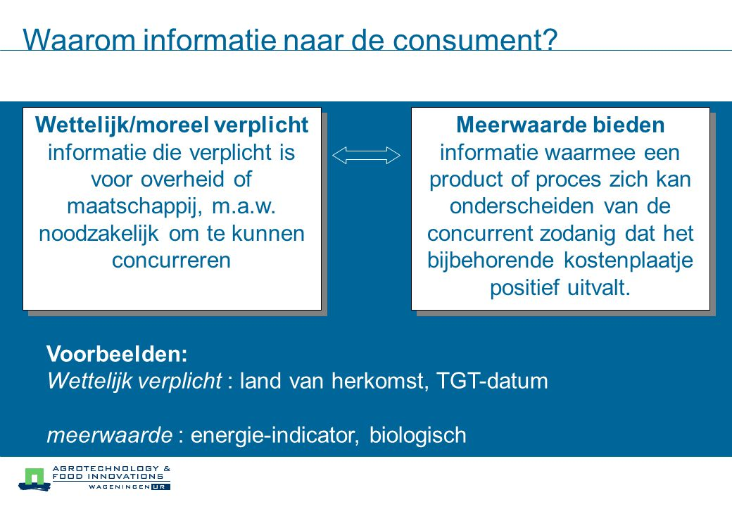 Waarom informatie naar de consument.