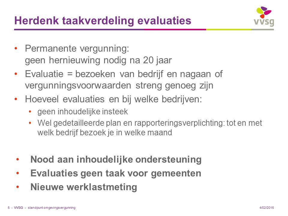 VVSG - Verduidelijk rol omgevingsambtenaar Gemeente moet voldoende kennis hebben om deskundig omgevingsvergunning te behandelen 2 'soorten' omgevingsambtenaren Verduidelijk verhouding team versus individu Maak intergem.