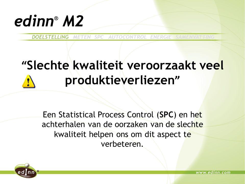 Slechte kwaliteit veroorzaakt veel produktieverliezen Een Statistical Process Control (SPC) en het achterhalen van de oorzaken van de slechte kwaliteit helpen ons om dit aspect te verbeteren.