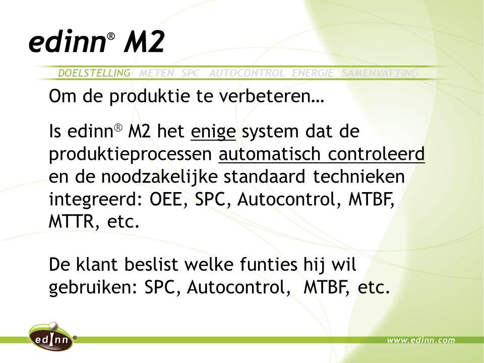 Om de produktie te verbeteren… Is edinn ® M2 het enige system dat de produktieprocessen automatisch controleerd en de noodzakelijke standaard technieken integreerd: OEE, SPC, Autocontrol, MTBF, MTTR, etc.