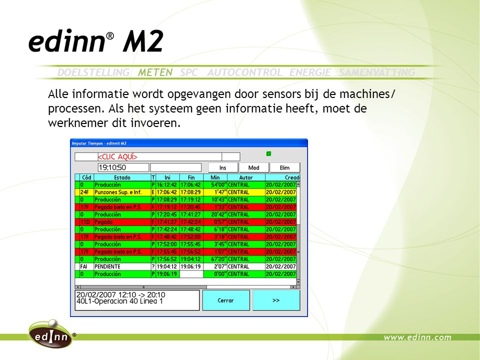 Alle informatie wordt opgevangen door sensors bij de machines/ processen.