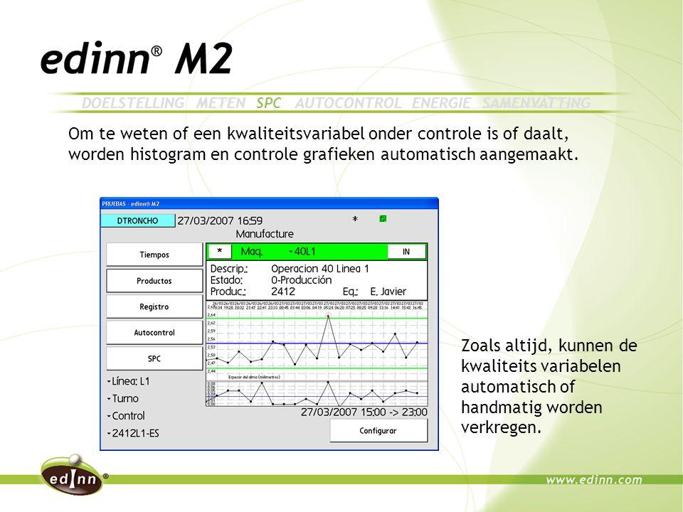 Om te weten of een kwaliteitsvariabel onder controle is of daalt, worden histogram en controle grafieken automatisch aangemaakt.