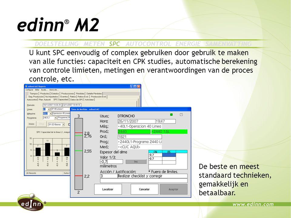 U kunt SPC eenvoudig of complex gebruiken door gebruik te maken van alle functies: capaciteit en CPK studies, automatische berekening van controle limieten, metingen en verantwoordingen van de proces controle, etc.