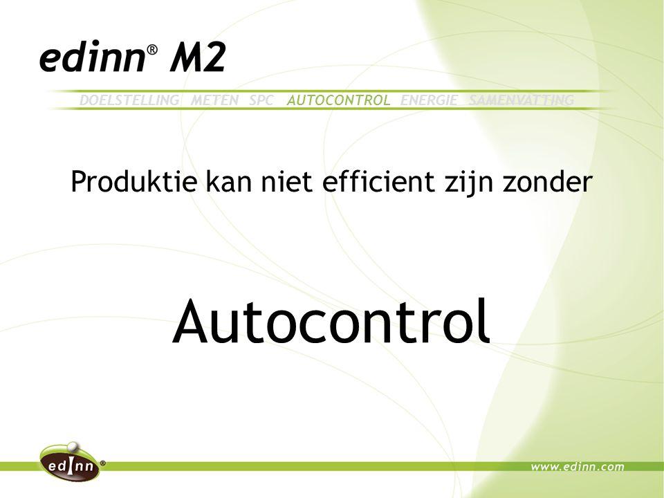 Produktie kan niet efficient zijn zonder Autocontrol DOELSTELLING METEN SPC AUTOCONTROL ENERGIE SAMENVATTING