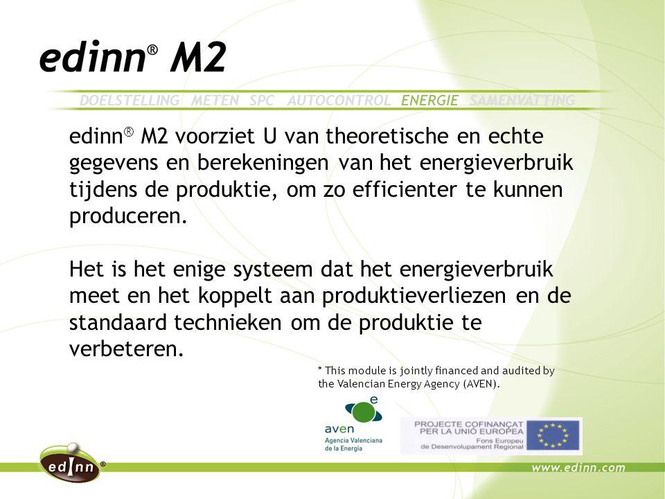 edinn ® M2 voorziet U van theoretische en echte gegevens en berekeningen van het energieverbruik tijdens de produktie, om zo efficienter te kunnen produceren.