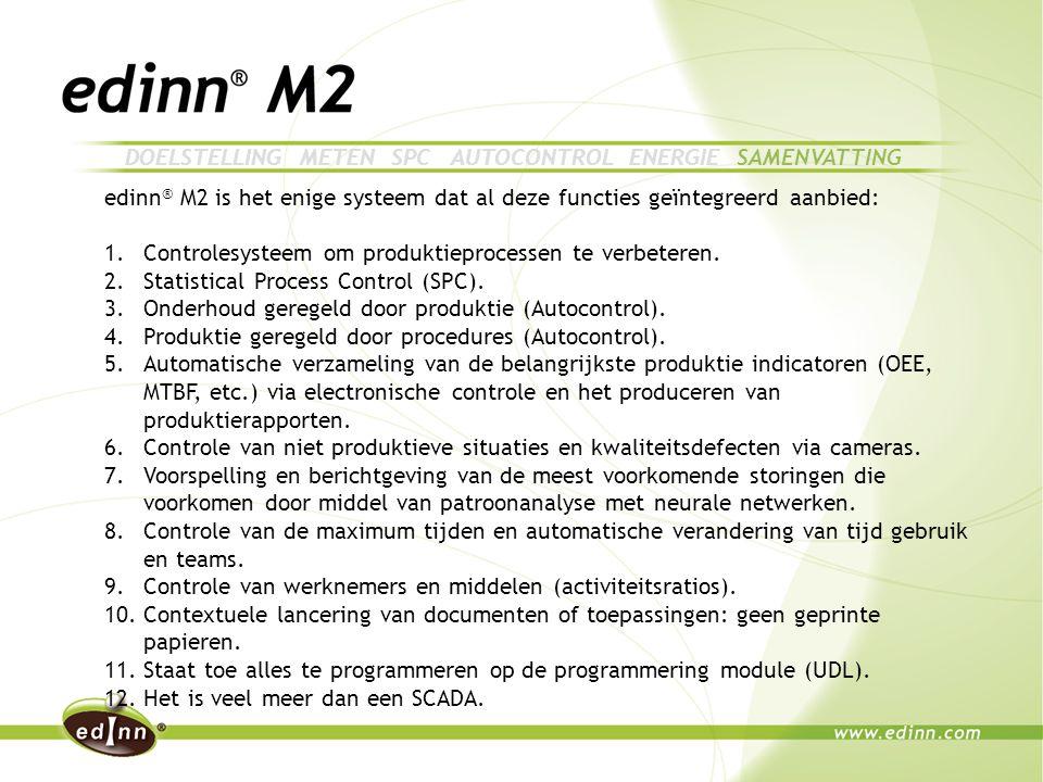edinn ® M2 is het enige systeem dat al deze functies geïntegreerd aanbied: 1.Controlesysteem om produktieprocessen te verbeteren.