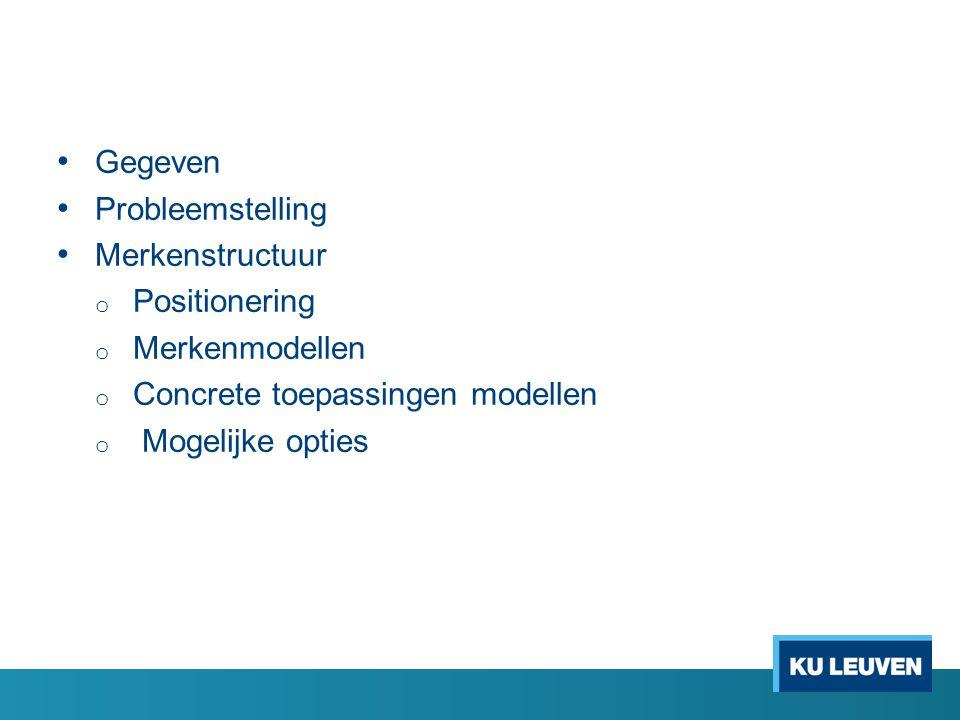 Gegeven Probleemstelling Merkenstructuur o Positionering o Merkenmodellen o Concrete toepassingen modellen o Mogelijke opties