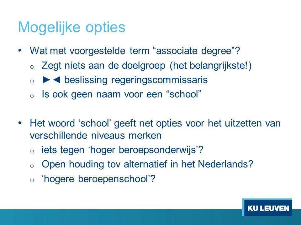 Mogelijke opties Wat met voorgestelde term associate degree .