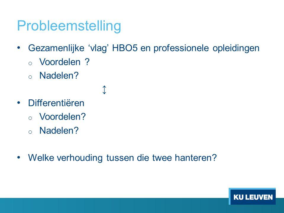 Probleemstelling Gezamenlijke 'vlag' HBO5 en professionele opleidingen o Voordelen .