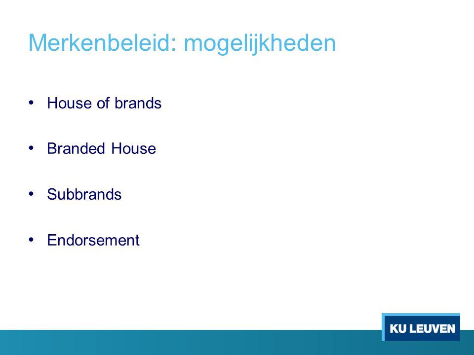 Merkenbeleid: mogelijkheden House of brands Branded House Subbrands Endorsement