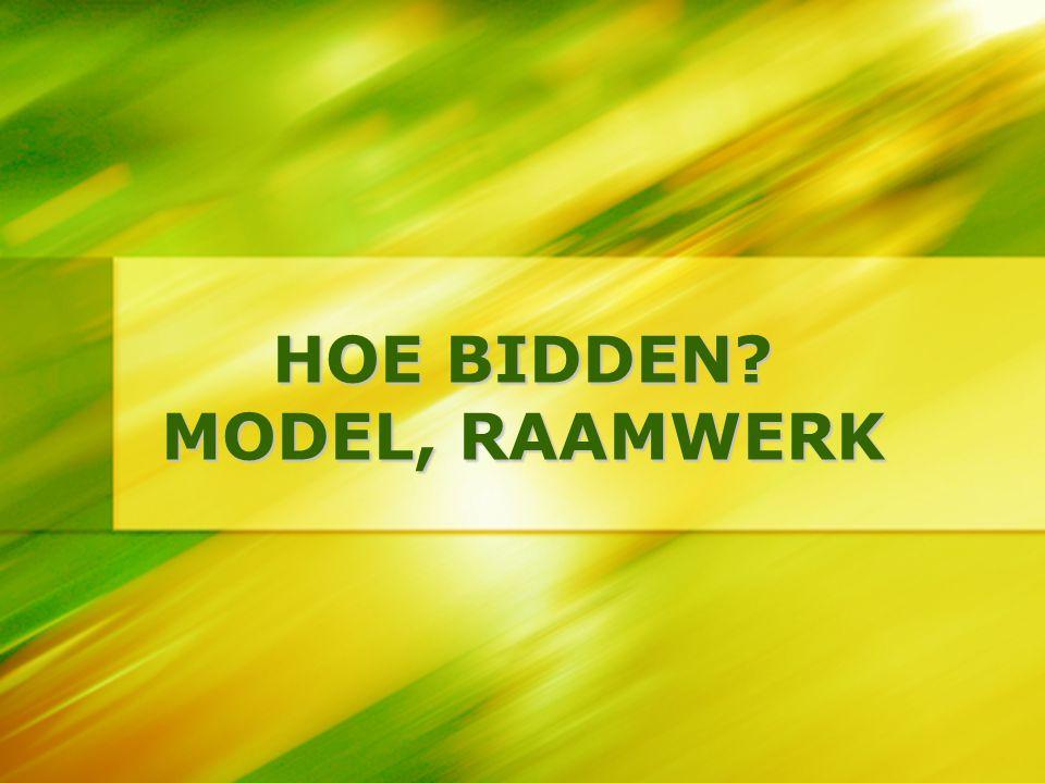 HOE BIDDEN? MODEL, RAAMWERK