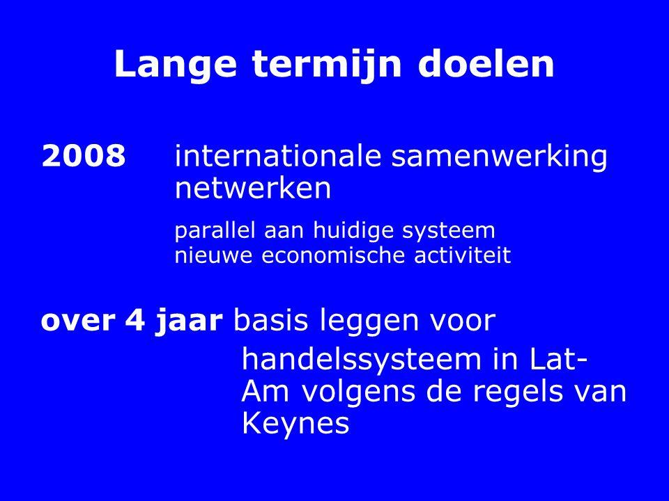 Lange termijn doelen 2008 internationale samenwerking netwerken parallel aan huidige systeem nieuwe economische activiteit over 4 jaar basis leggen voor handelssysteem in Lat- Am volgens de regels van Keynes