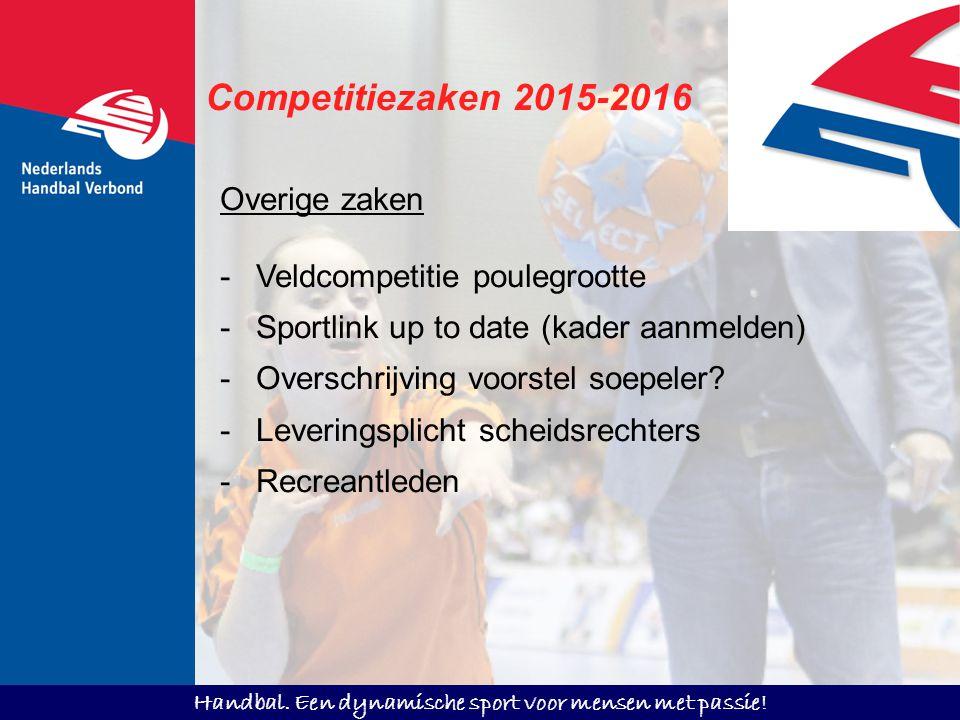Handbal. Een dynamische sport voor mensen met passie! Competitiezaken 2015-2016 Overige zaken -Veldcompetitie poulegrootte -Sportlink up to date (kade