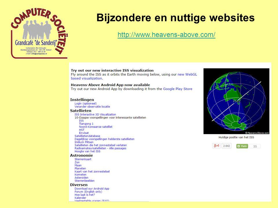 Bijzondere en nuttige websites http://www.heavens-above.com/