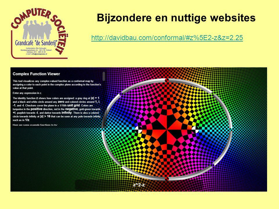 Bijzondere en nuttige websites http://davidbau.com/conformal/#z%5E2-z&z=2.25