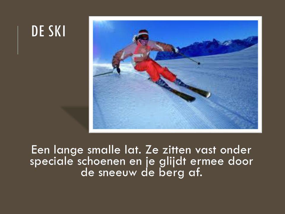 DE SKI Een lange smalle lat. Ze zitten vast onder speciale schoenen en je glijdt ermee door de sneeuw de berg af.