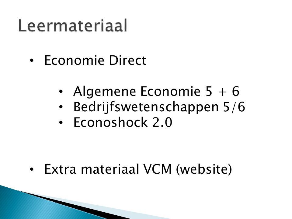 Economie Direct Algemene Economie 5 + 6 Bedrijfswetenschappen 5/6 Econoshock 2.0 Extra materiaal VCM (website)
